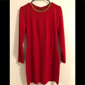 H&M Long Sleeved Red Dress Gold Jewels